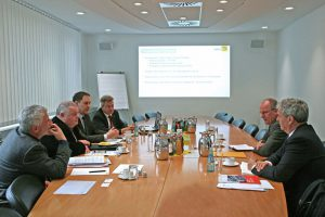 Führten konstruktive Gespräche (v.l.): Herbert Brichta, Dr. Gerd Böhme, Karl-Sebastian Schulte, Ingolf Jakobi, Ralf Kutzner und Helmut Dittke. Bild: ZVEH