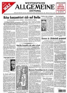 Eine Reproduktion der ersten WAZ-Titelseite ist Titel der JubiläumsausgabeEine Reproduktion der ersten WAZ-Titelseite ist Titel der Jubiläumsausgabe